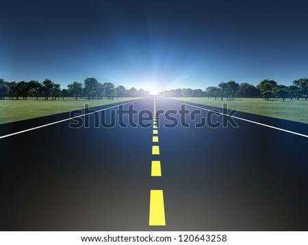 Road in green landscape moving toward light - stock photo