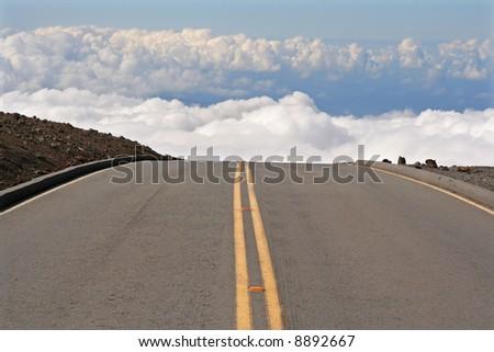 Road in Haleakala National Park, Hawaii, Maui - stock photo