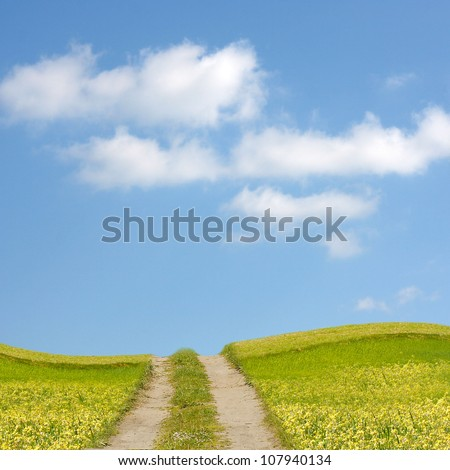 Road in hills - stock photo