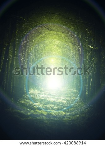 Road in magic dark forest, dark vignetting, sun glare - stock photo