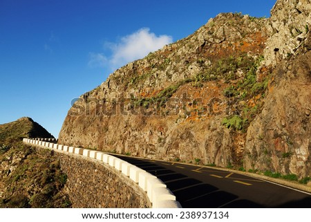 Road in Masca Canyon, Tenerife Island, Spain
