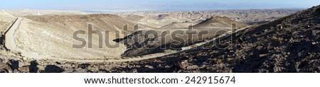 Road in mountain area near Arad, Israel                                - stock photo