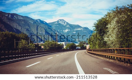 road in mountains - stock photo