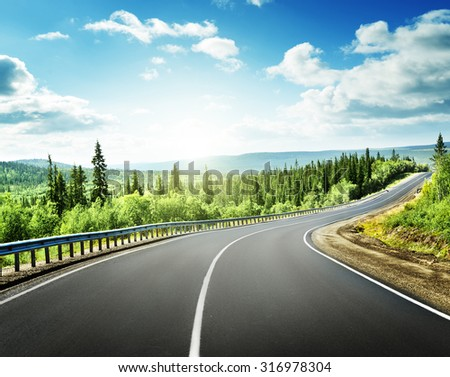 road in north mountains - stock photo