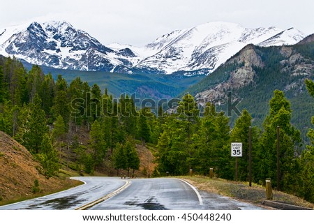 Road in rocky mountains in the Colorado