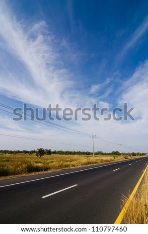Road in rustic city  in Thailand - stock photo