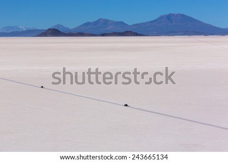 road in salt desert Uyuni in Bolivia. South America - stock photo