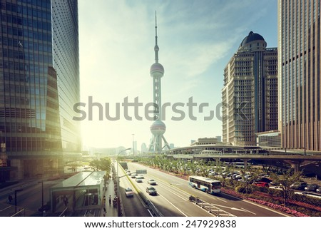 road in shanghai lujiazui financial center - stock photo