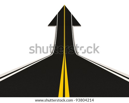 Road in Shape of Arrow isolated on white background (Success Concept) - stock photo