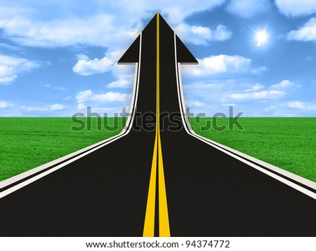 Road in Shape of Arrow (Success Concept)