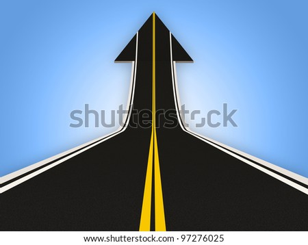 Road in Shape of Arrow (Success Concept) - stock photo