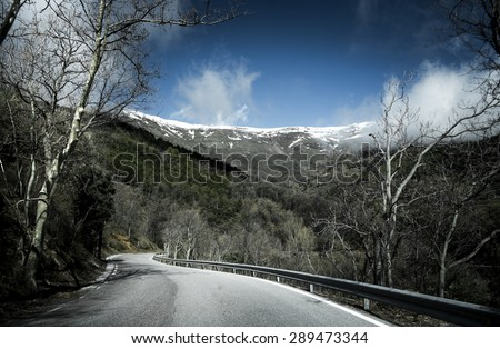 Road in Sierra Nevada, Andalusia, Spain - stock photo