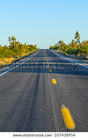 road in sunset with yellow marks