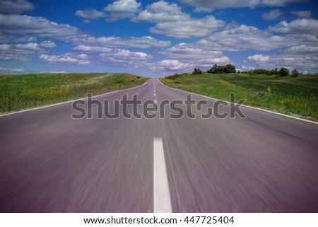 road in the clouds - stock photo