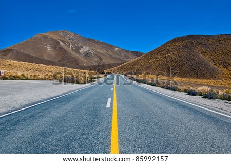 road in the country in New Zealand - stock photo