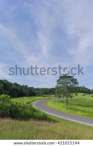 Road in the countryside between green field with electric poles under blue sky
