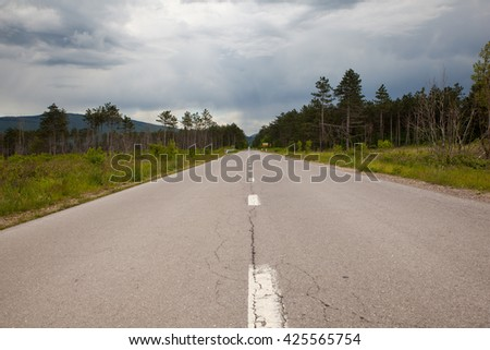 Road in the countryside, Slovenia - stock photo