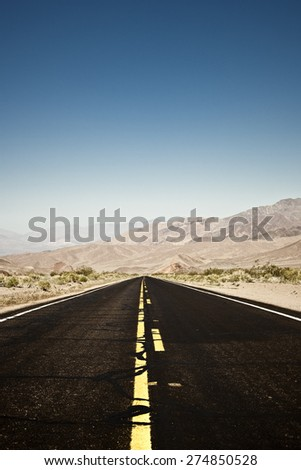 Road in the Death Valley - stock photo