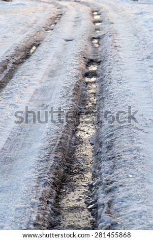 road in the ice in winter - stock photo