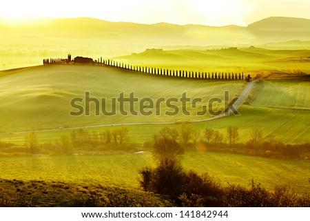 road in Tuscany Italy - stock photo