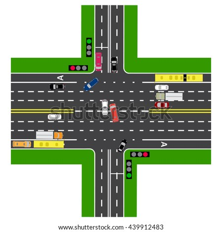 Road infographics. Most of the highway intersection with the road. With the cars and traffic lights. Green signal for the non-principal roads. Top view of the highway. Raster illustration