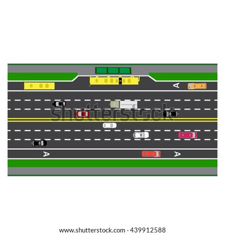 Road infographics. Plot road, highway, street with the bus stop. With different cars. loaded maps of roads and public transport. Top view of the highway. Raster illustration: