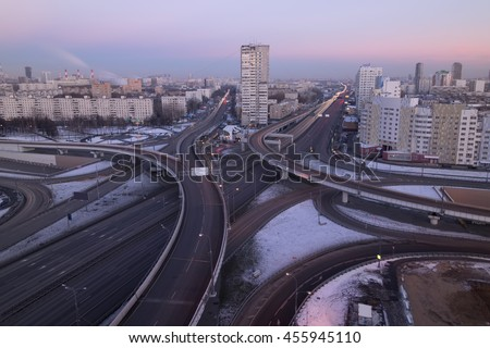 Road interchange of People Militia street, Mnevniki street and avenue Marshal Zhukov in Moscow at evening - stock photo