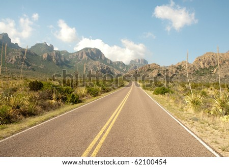 road into the Chisos Mountains - stock photo