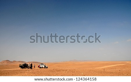 Road into the Danakil Desert, Eritrea - stock photo