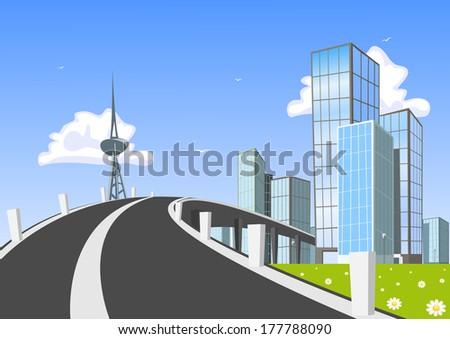 Road into town. Illustration - stock photo