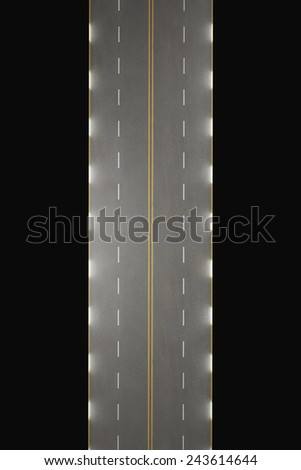 road isolated on black background. High resolution 3d - stock photo