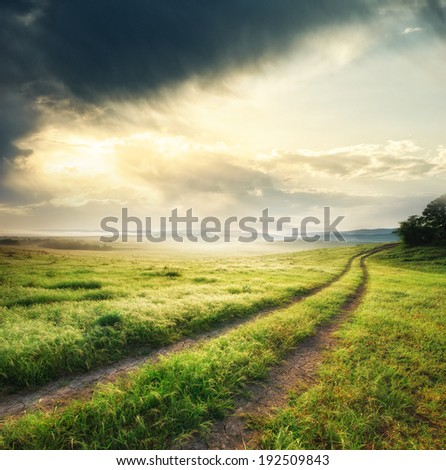 Road lane and deep sky. Nature design.