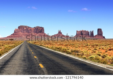 Road leading into Monument Valley. - stock photo