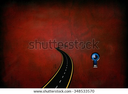 Road leading to nowhere and eye watching through lock - stock photo