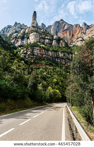 Road leading to The Benedictine abbey of Santa Maria de Montserrat, Catalonia. Spain