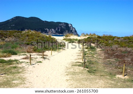 Road leading to the ocean Spain - stock photo