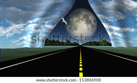 Road leads into rip in fabric of reality - stock photo
