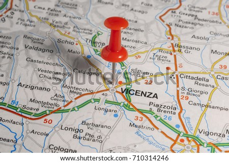 Road Map City Vicenza Italy Stock Photo 710314246 Shutterstock