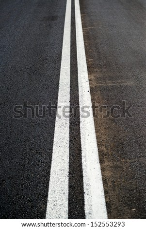 Road marking - Double lines on the asphalt road
