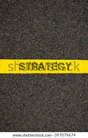 Road marking yellow paint dividing line with word RECOVERY, concept image