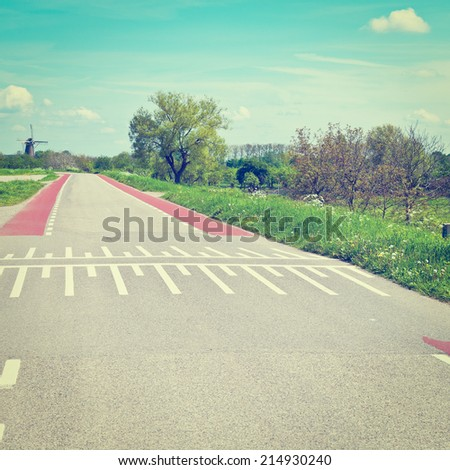 Road Markings for Bicyclists on the Road in Holland, Instagram Effect - stock photo