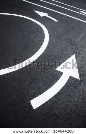 Road markings pictures / photography of road markings and traffic symbol on surface road  - stock photo