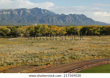 Road near and forest near Sandia mountains, New Mexico, USA - stock photo