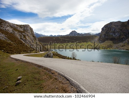 Road  near Lake Enol.   Picos de Europa. Asturias. Spain - stock photo