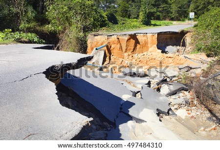 Road near Raeford North Carolina that is gone after Hurricane Matthew
