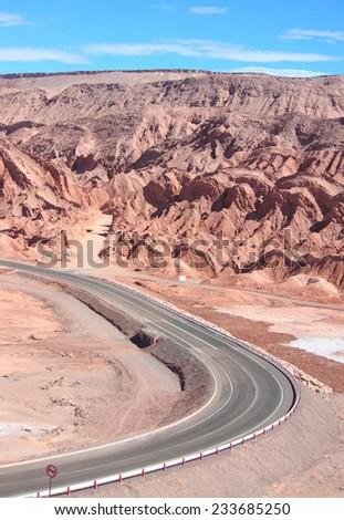road near San Pedro de Atacama, Chile - stock photo