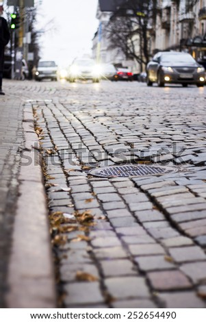 road of stones in Kiev - stock photo