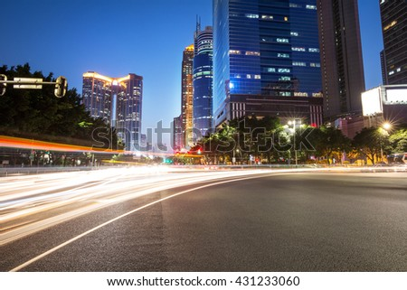 Road of the modern city night