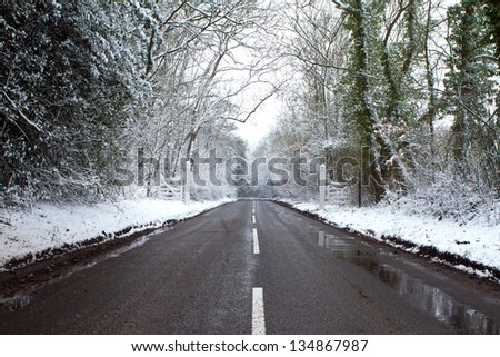 road on a col winters day