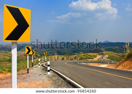 Road on high mountain - stock photo